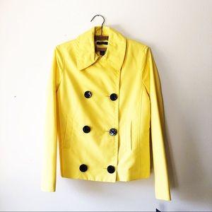 NWT bright yellow nautical peacoat rain jacket S
